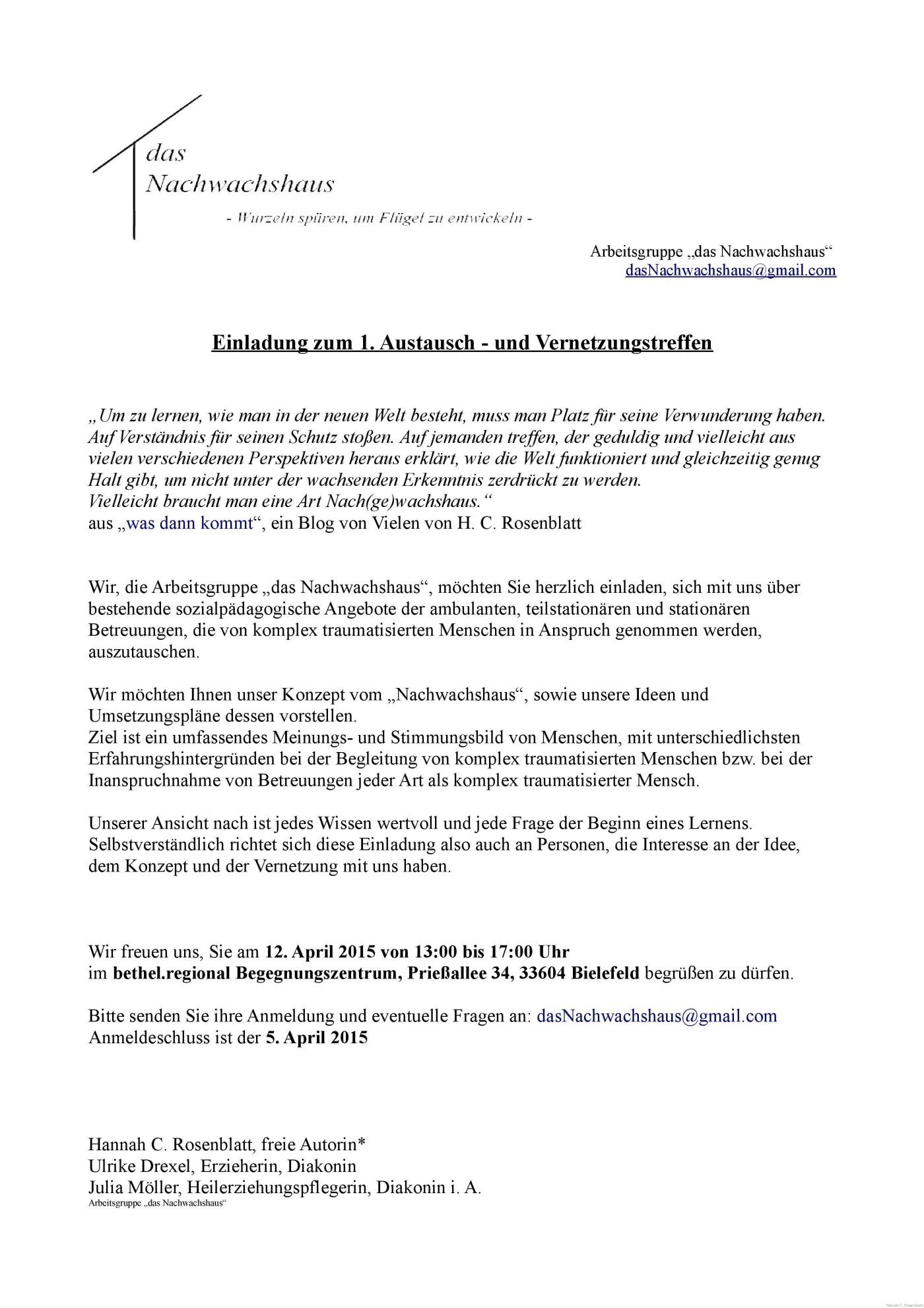 einladung zum 1. austausch – und vernetzungstreffen – ein blog von, Einladung