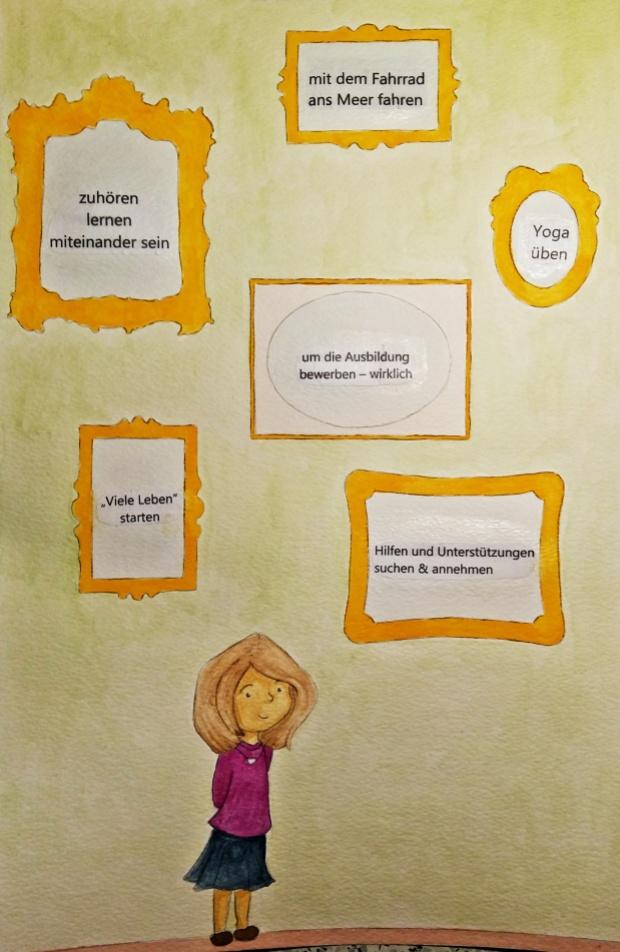 """Ausblicke - eine Person steht vor einer hellgrünen Wand, an der sechs goldgelbe Bilderrahmen hängen. In denen steht jeweils - """"zuhören, lernen miteinander sein"""" - """"mit dem Fahrrad ans Meer fahren"""" - """"Yoga üben"""" - """"die Ausbildung bewerben - wirklich"""", """" """"Viele Leben"""" starten"""", """"Hilfen und Unterstützungen suchen und annehmen"""""""